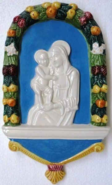 Picture of Madonna and Child Wall Panel cm 25 (9,8 in) Bas relief Glazed Ceramic Della Robbia