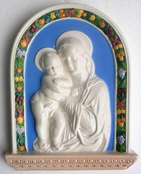 Imagen de Virgen con el Niño Retablo de pared cm 33x26 (13x10,2 in) Bajorrelieve Cerámica Della Robbia