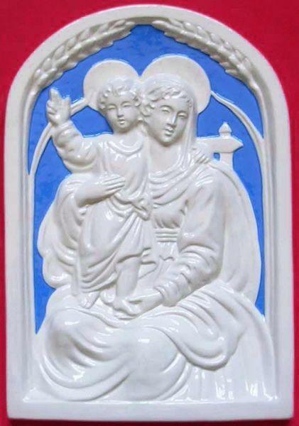 Imagen de Virgen con el Niño Retablo de pared cm 34x24 (13,4x9,4 in) Bajorrelieve Cerámica Della Robbia