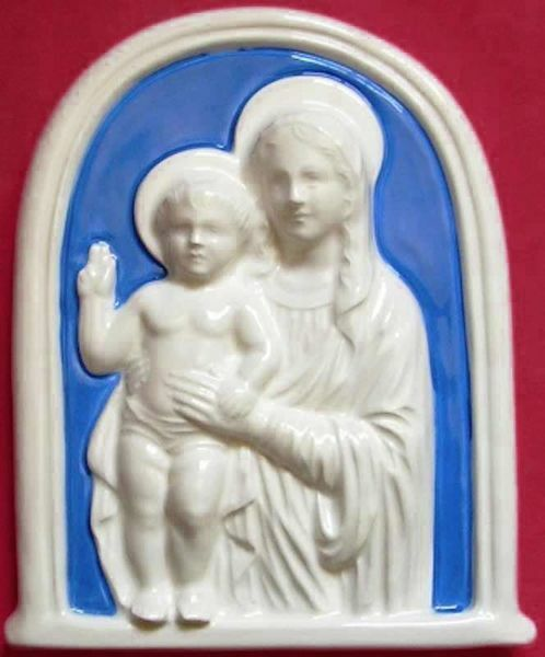 Immagine di Madonna con Bambino Pala da Muro cm 17x14 (6,7x5,5 in) Bassorilievo Maiolica Robbiana