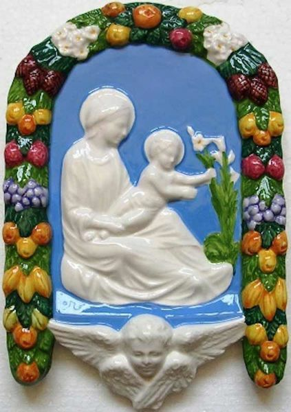 Picture of Madonna and Child with Lily Wall Panel cm 25 (9,8 in) Bas relief Glazed Ceramic Della Robbia