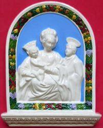 Imagen de Virgen de los Milagros Retablo de pared cm 33x23 (13x9,1 in) Bajorrelieve Mayólica Robbiana