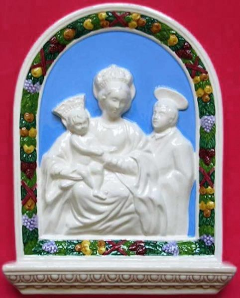 Picture of Madonna of Miracles Wall Panel cm 33x23 (13x9,1 in) Bas relief Glazed Maiolica Della Robbia