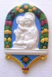 Immagine di Madonna di Boccadirio Pala da Muro cm 14x9 (5,5x3,5 in) Bassorilievo Ceramica Robbiana