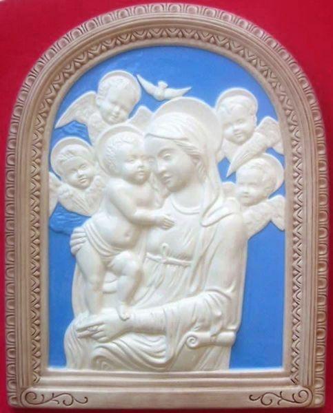 Imagen de Nuestra Señora de Boccadirio Retablo de pared cm 39x31 (15,4x12,2 in) Bajorrelieve Mayólica Robbiana