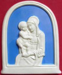 Immagine di Madonna di Boccadirio Pala da Muro cm 17x14 (6,7x5,5 in) Bassorilievo Maiolica Invetriata