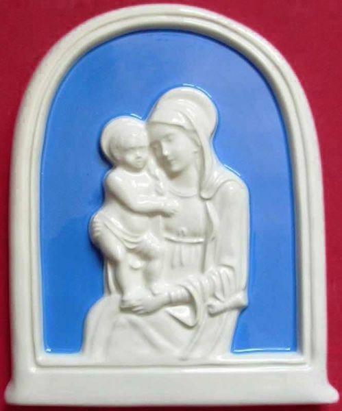 Imagen de Nuestra Señora de Boccadirio Retablo de pared cm 17x14 (6,7x5,5 in) Bajorrelieve Mayólica vidriada