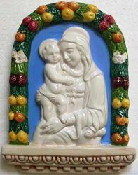 Immagine di Madonna di Boccadirio Pala da Muro cm 20x15 (7,9x5,9 in) Bassorilievo Ceramica Invetriata