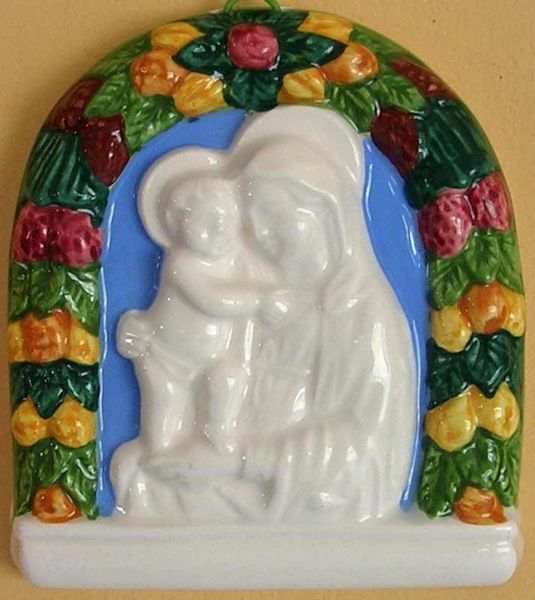 Picture of Our Lady of Boccadirio Wall Panel cm 10x9 (3,9x3,5 in) Bas relief Glazed Ceramic Della Robbia