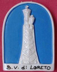 Immagine di Madonna di Loreto Pala da Muro cm 11 (4,3 in) Bassorilievo Maiolica Robbiana