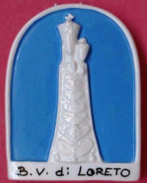 Imagen de Nuestra Señora de Loreto Retablo de pared cm 11 (4,3 in) Bajorrelieve Mayólica Robbiana