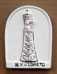 Immagine di Madonna di Loreto Pala da Muro cm 11 (4,3 in) Bassorilievo Ceramica Robbiana