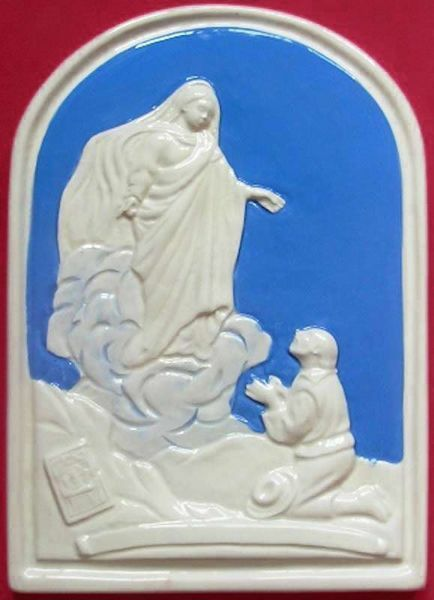 Picture of Our Lady of Montallegro Wall Panel cm 24x17 (9,4x6,7 in) Bas relief Glazed Ceramic Della Robbia