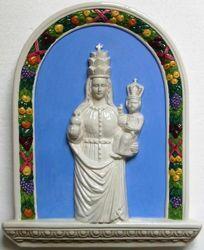 Immagine di Madonna di Oropa Pala da Parete cm 33x26 (13x10,2 in) Bassorilievo Ceramica Invetriata