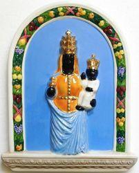 Immagine di Madonna di Oropa Pala da Parete cm 33 (13 in) Bassorilievo Ceramica Robbiana