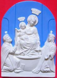 Picture of Our Lady of Pompei Wall Panel cm 36 (14,2 in) Bas relief Glazed Maiolica Della Robbia
