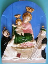 Picture of Our Lady of Pompei Wall Panel cm 36 (14,2 in) Bas relief Glazed Ceramic Della Robbia
