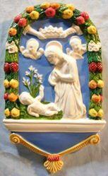 Picture of Nativity Wall Panel cm 25 (9,8 in) Bas relief Glazed Ceramic Della Robbia