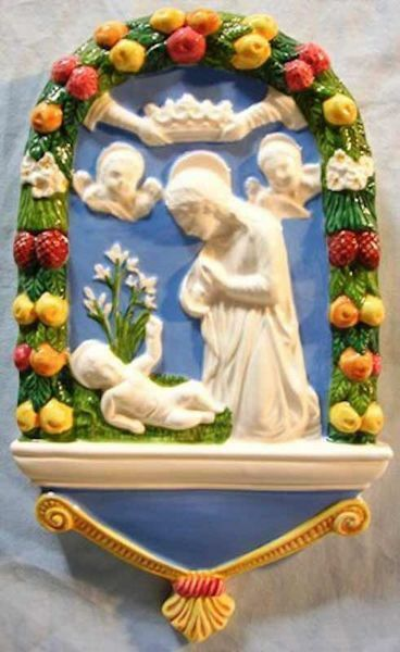 Picture of Nativity Wall Panel cm 25 (9,8 in) Bas relief Glazed Ceramic Della Robbia