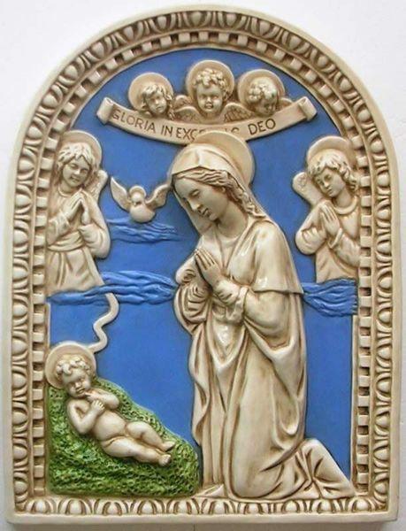 Imagen de Navidad Retablo de pared cm 60 x45 (23,6x17,7 in) Bajorrelieve Mayólica Robbiana