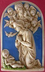 Picture of Nativity Wall Panel cm 54x34 (21,3x13,4 in) Bas relief Glazed Maiolica Della Robbia
