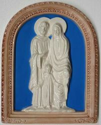 Picture of Holy Family Wall Panel cm 39x31 (15,4x12,2 in) Bas relief Glazed Ceramic Della Robbia