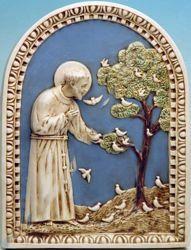 Imagen de San Francisco de Asís y las Aves Retablo de pared cm 60x45 (23,6x17,7 in) Bajorrelieve Mayólica Robbiana