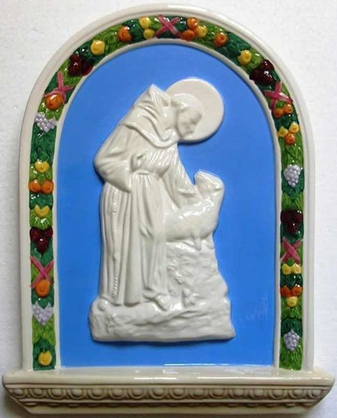 Picture of St. Francis and the Sheep Wall Panel cm 33x26 (13x10,2 in) Bas relief Glazed Ceramic Della Robbia