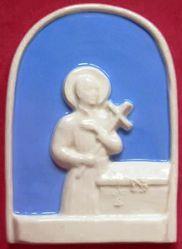 Imagen de San Gerardo Retablo de pared cm 10 (3,9 in) Bajorrelieve Cerámica Della Robbia
