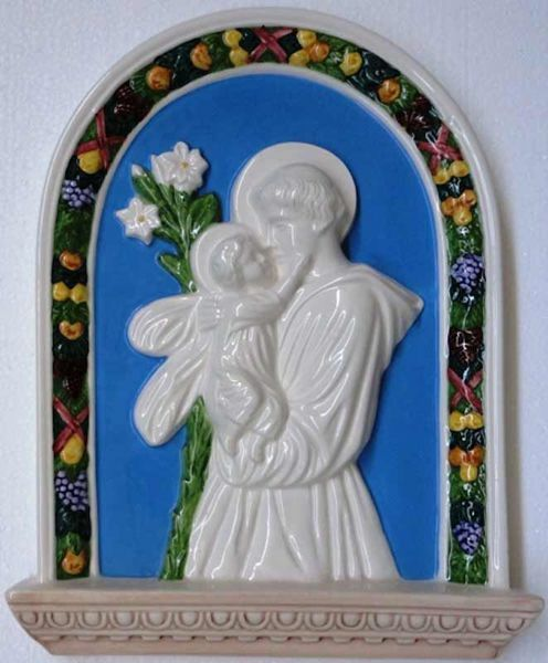 Picture of St. Anthony Wall Panel cm 33x26 (13x10,2 in) Bas relief Glazed Ceramic Della Robbia