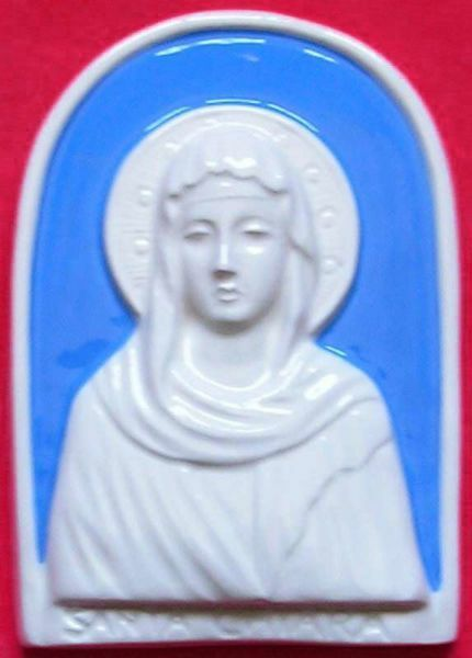Immagine di Santa Chiara Pala da Muro cm 11 (4,3 in) Bassorilievo Ceramica Robbiana