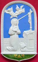 Picture of Saint Rita of Cascia Wall Panel cm 24x15 (9,4x5,9 in) Bas relief Glazed Ceramic Della Robbia