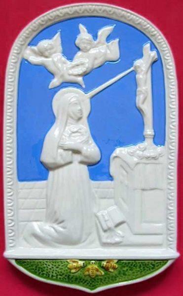 Imagen de Santa Rita de Casia Retablo de pared cm 24x15 (9,4x5,9 in) Bajorrelieve Cerámica Della Robbia
