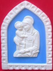 Immagine di Madonna di Boccadirio Formella da Muro cm 19x13 (7,5x5,1 in) Bassorilievo Ceramica Robbiana