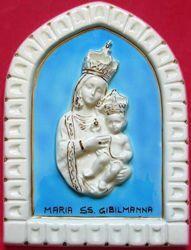 Immagine di Madonna di Gibilmanna Formella da Muro cm 25 (9,8 in) Bassorilievo Ceramica Invetriata