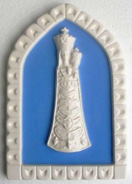 Imagen de Nuestra Señora de Loreto Panel de pared cm 19x13 (7,5x5,1 in) Bajorrelieve Cerámica Della Robbia