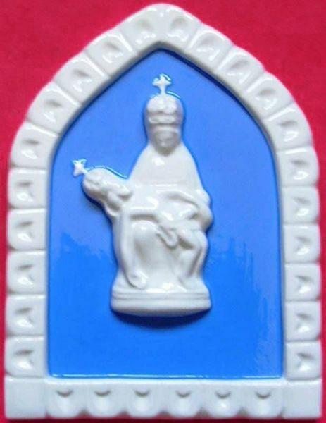 Imagen de Nuestra Señora de Pietralba Panel de pared cm 19x13 (7,5x5,1 in) Bajorrelieve Cerámica Della Robbia