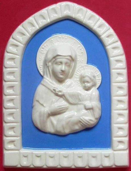 Immagine di Madonna di S. Luca Formella da Muro cm 25 (9,8 in) Bassorilievo Ceramica Robbiana