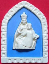 Picture of Our Lady Crowned Wall Panel cm 19x13 (7,5x5,1 in) Bas relief Glazed Ceramic Della Robbia