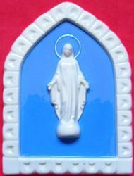 Picture of Miraculous Virgin Mary Wall Panel cm 19x13 (7,5x5,1 in) Bas relief Glazed Ceramic Della Robbia