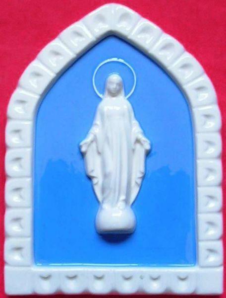 Immagine di Madonna Miracolosa Formella da Muro cm 19x13 (7,5x5,1 in) Bassorilievo Ceramica Robbiana
