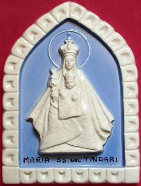 Picture of Madonna of Tindari Wall Panel cm 19x13 (7,5x5,1 in) Bas relief Glazed Ceramic Della Robbia