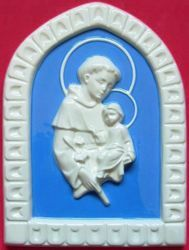 Picture of St. Anthony of Padua Wall Panel cm 25 (9,8 in) Bas relief Glazed Ceramic Della Robbia