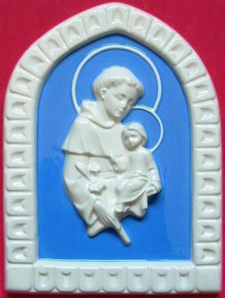 Immagine di Sant' Antonio da Padova Formella da Muro cm 25 (9,8 in) Bassorilievo Ceramica Robbiana