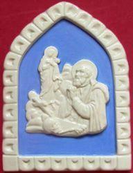 Picture of St. Ignatius Wall Panel cm 19x13 (7,5x5,1 in) Bas relief Glazed Ceramic Della Robbia