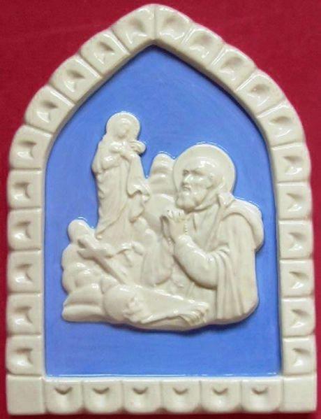 Immagine di Sant'Ignazio Formella da Muro cm 19x13 (7,5x5,1 in) Bassorilievo Ceramica Robbiana