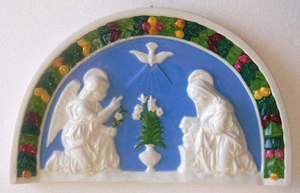 Immagine di Annunciazione Lunetta da Muro cm 34x21 (13,4x8,3 in) Bassorilievo Ceramica Robbiana