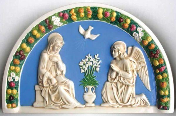 Picture of Annunciation Wall Lunette cm 60x38 (23,6x15 in) Bas relief Glazed Ceramic Della Robbia