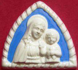 Picture of Virgin Mary Wall Lunette cm 11 (4,3 in) Bas relief Glazed Ceramic Della Robbia