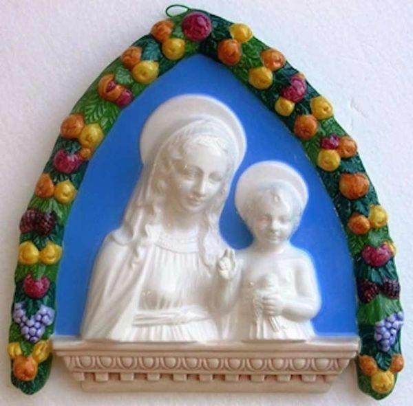 Immagine di Madonna con Bambino Lunetta da Muro cm 27 (10,6 in) Bassorilievo Ceramica Robbiana